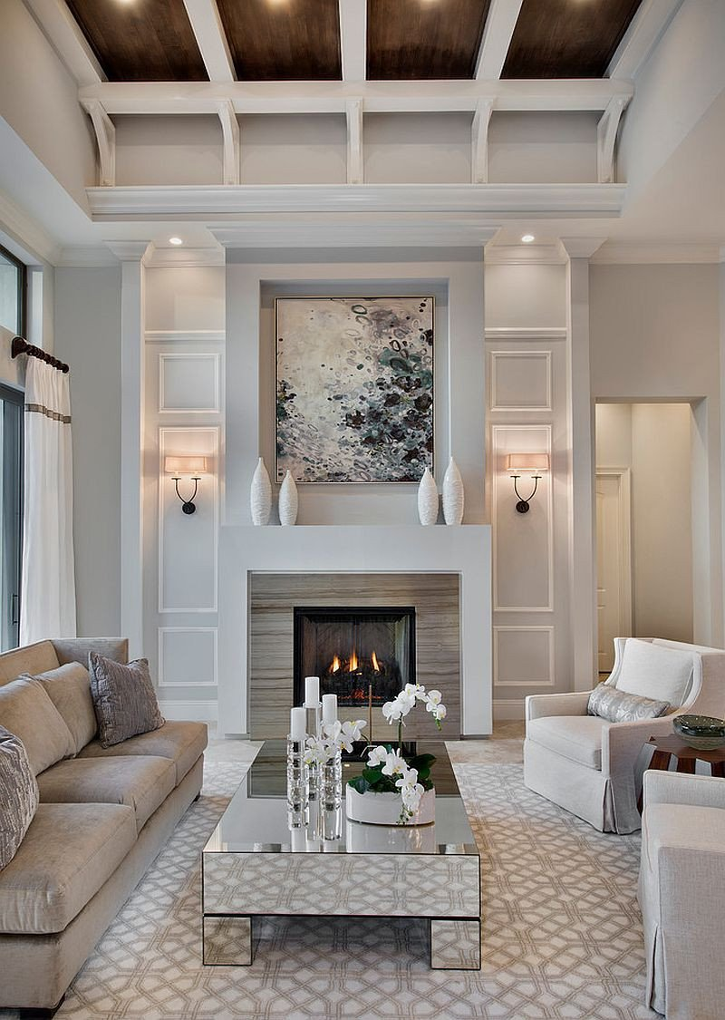 Living Room Decor with Fireplace 30 Mirrored Coffee Tables that Add A Sparkle to Your Home