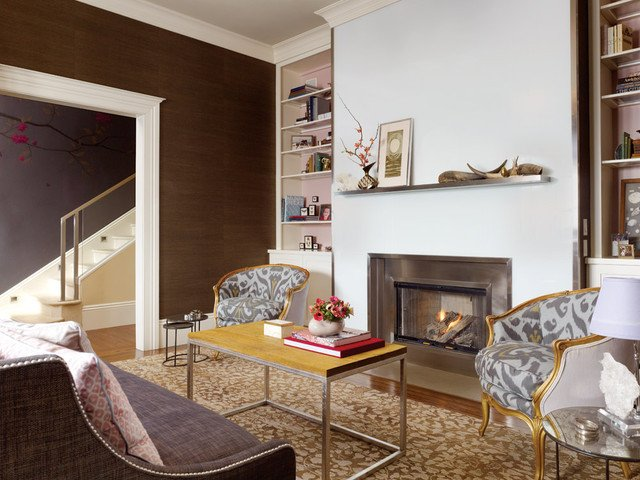Living Room Decor with Fireplace Living Room with Beautiful Fireplace Contemporary