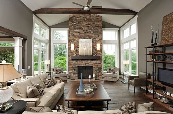 Living Room Decor with Fireplace Stone Fireplaces Ideas for Contemporary Living Rooms