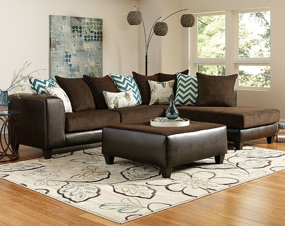 Living Room Decor with Sectional Brown Wrap Around Couch
