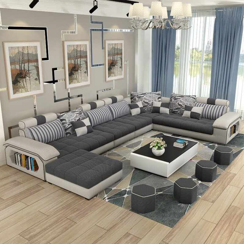 Living Room Decor with Sectional Luxury Living Room Furniture Modern U Shaped Fabric Corner