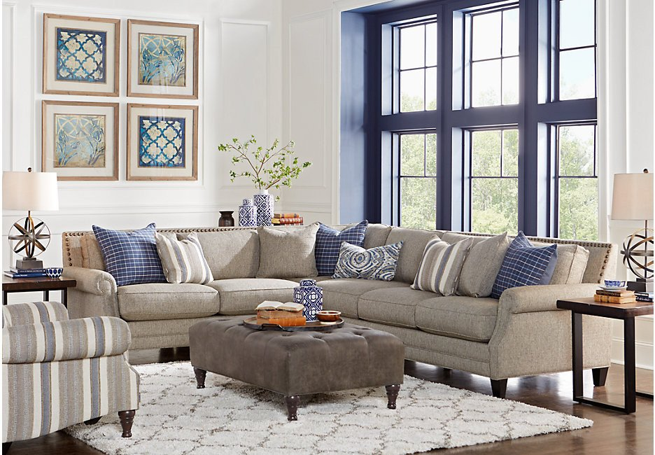Living Room Decor with Sectional Piedmont Gray 3 Pc Sectional Living Room Living Room