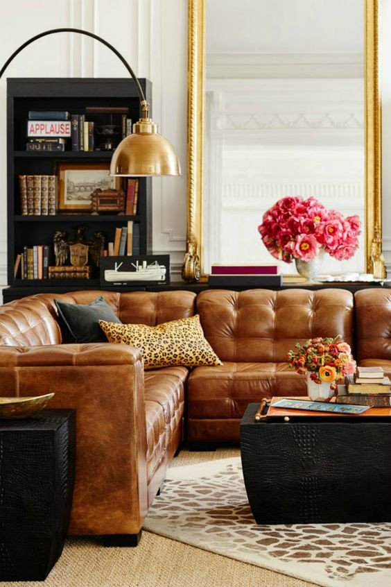 Living Room Decor with Sectional Tanned Leather sofas are the Hottest Decorating Trend Of