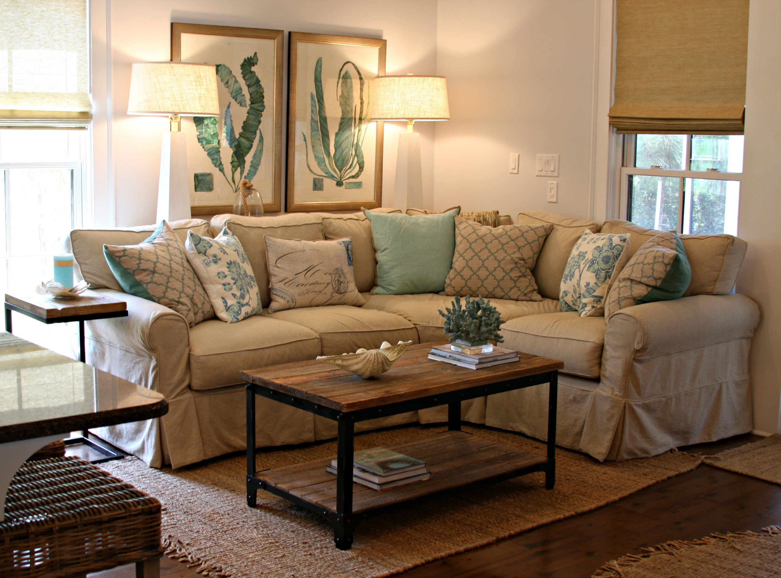 Living Room Decor with Sectional Watersound Beach Cottage Interior Design by andrea