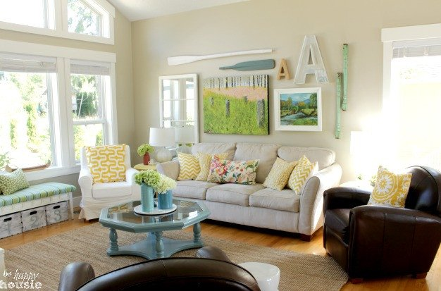 Living Room Design for Summer Lake Cottage Late Summer Beachy Decor House tour