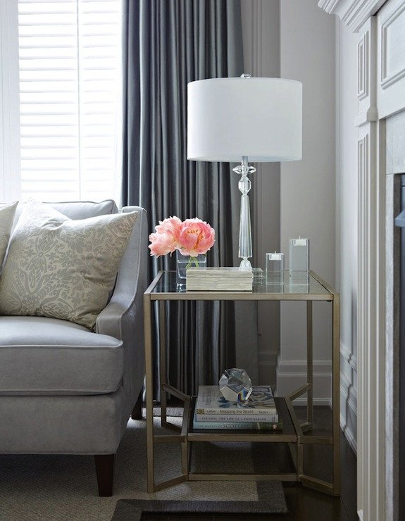 Living Room End Table Decor Brass and Glass End Table Transitional Living Room