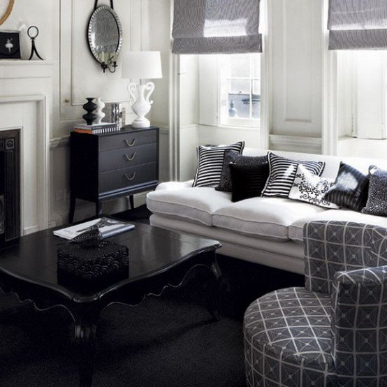 Living Room Ideas Black Black and White Living Room Design and Ideas