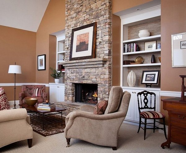 Living Room Ideas Shelves 50 Stone Fireplace Design Ideas the Irresistible Power