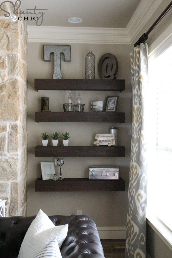 Living Room Ideas Shelves Diy Floating Shelves for My Living Room Shanty 2 Chic