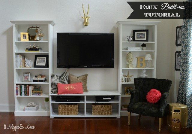 "Living Room Ideas Shelves ""faux"" Built In Living Room Shelves Tutorial"
