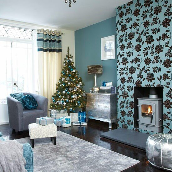 Living Room Ideas Teal Festive Teal and Silver Living Room Scheme