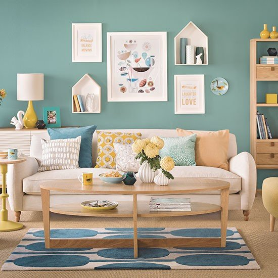 Living Room Ideas Teal Teal Blue and Oak Living Room Decorating
