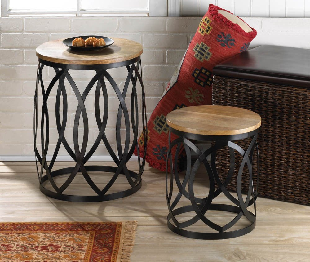 Living Room Side Table Decor End Table Set Coffee Furniture Accent Round Wood Metal