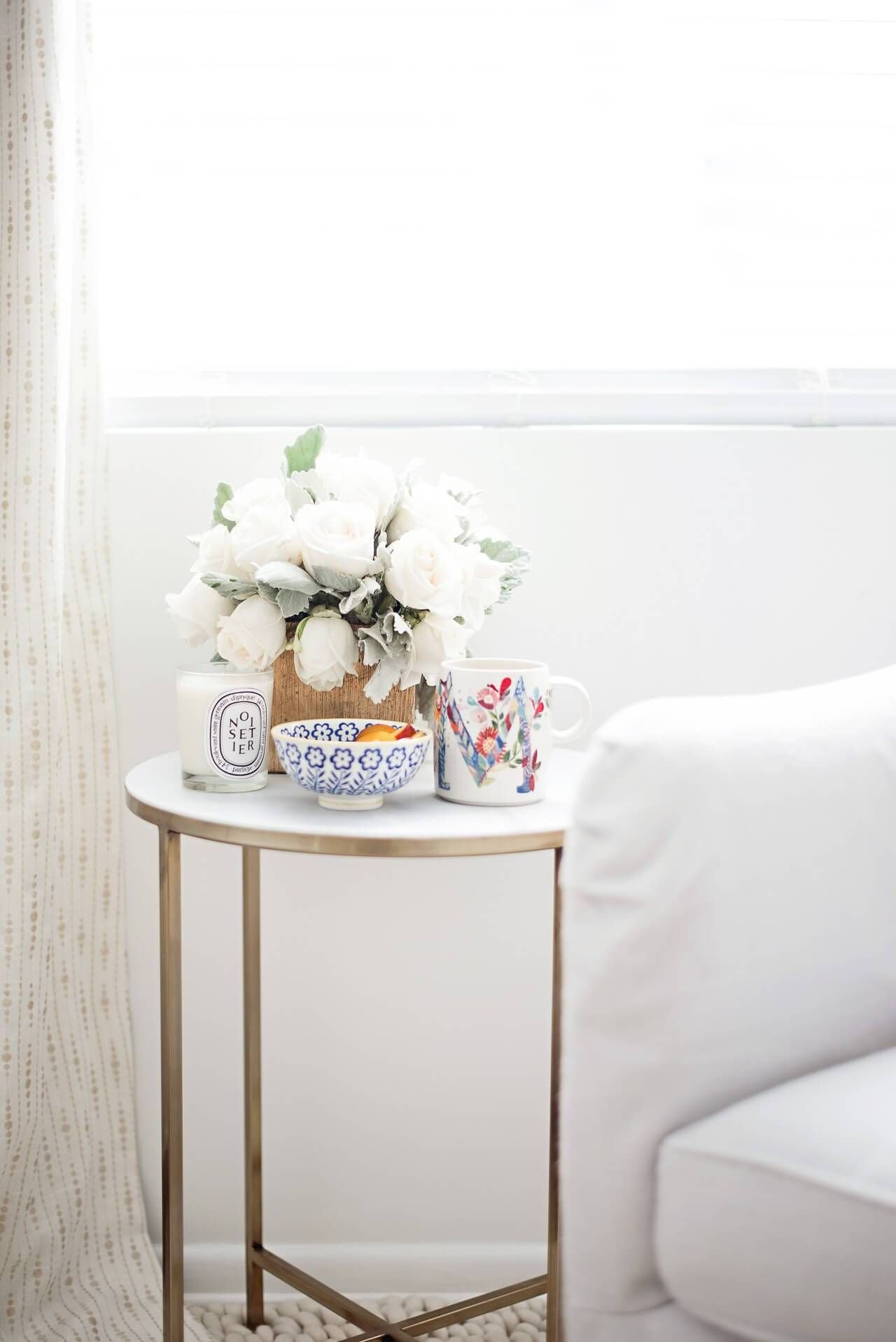 Living Room Side Table Decor Quiet Mornings at Home Marble Side Table with Flowers and