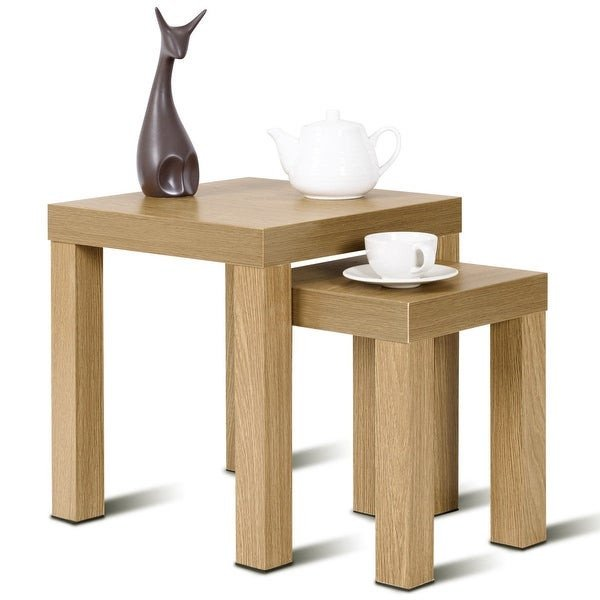 Living Room Side Table Decor Shop Costway Set Of 2 Nesting Coffee End Table Side Tables
