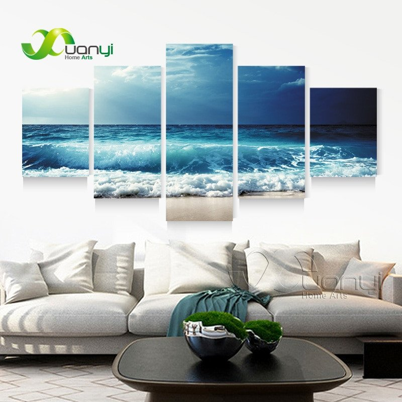 Living Room Wall Decor Pictures 5 Panel Ocean Sea Wave Seascape Canvas Oil Painting Beach