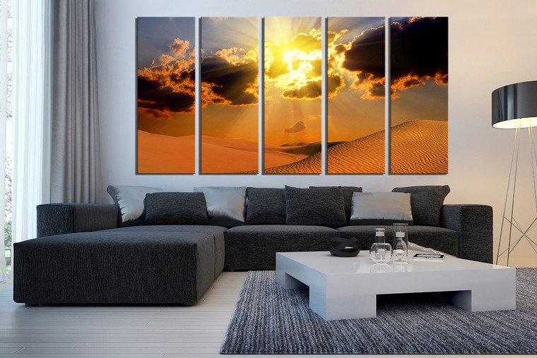 Living Room Wall Decor Pictures 5 Piece Wall Decor Landscape Canvas Print Desert Huge