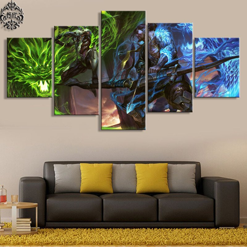 Living Room Wall Decor Pictures 5 Pieces Game Poster Overwatch Genji and Hanzo Canvas