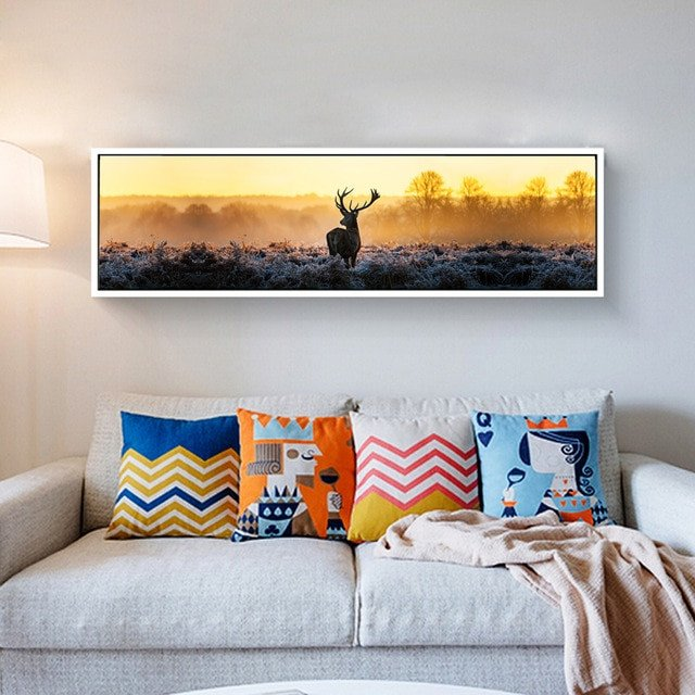 Living Room Wall Decor Pictures Canvas Print Long Painting Deer Poster Modern Wall Art