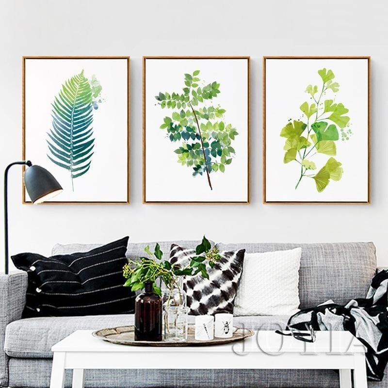 Living Room Wall Decor Pictures Leaf Prints Wall Decor Green Botanical Leaves Canvas Art