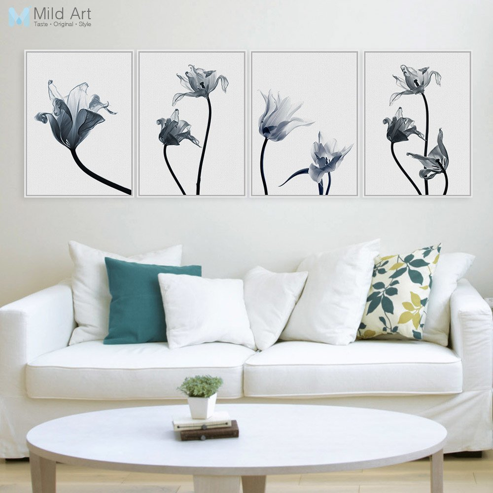 Living Room Wall Decor Pictures Modern Transparent Flower Floral Tulip Poster Print nordic
