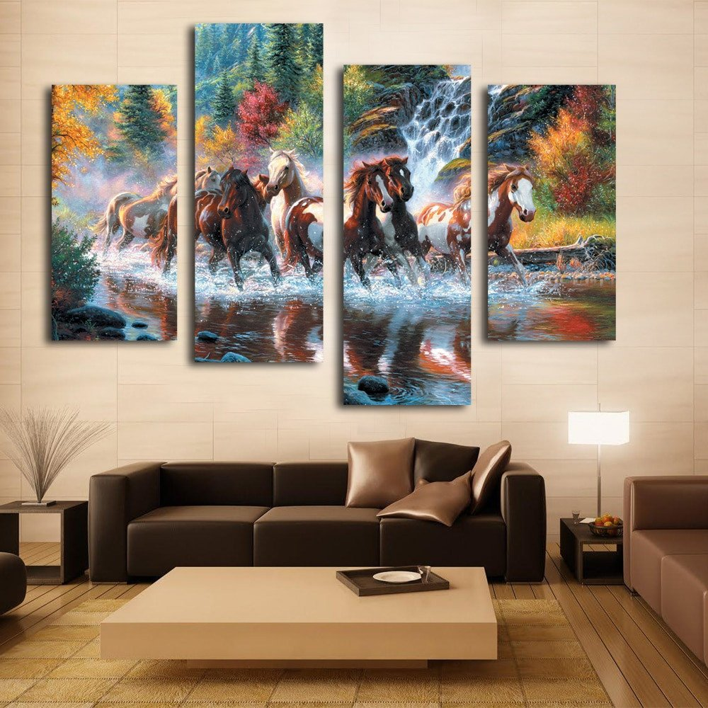 Living Room Wall Decor Pictures Nice Woonkamer Wanddecoratie Art Mooie Paard Canvas