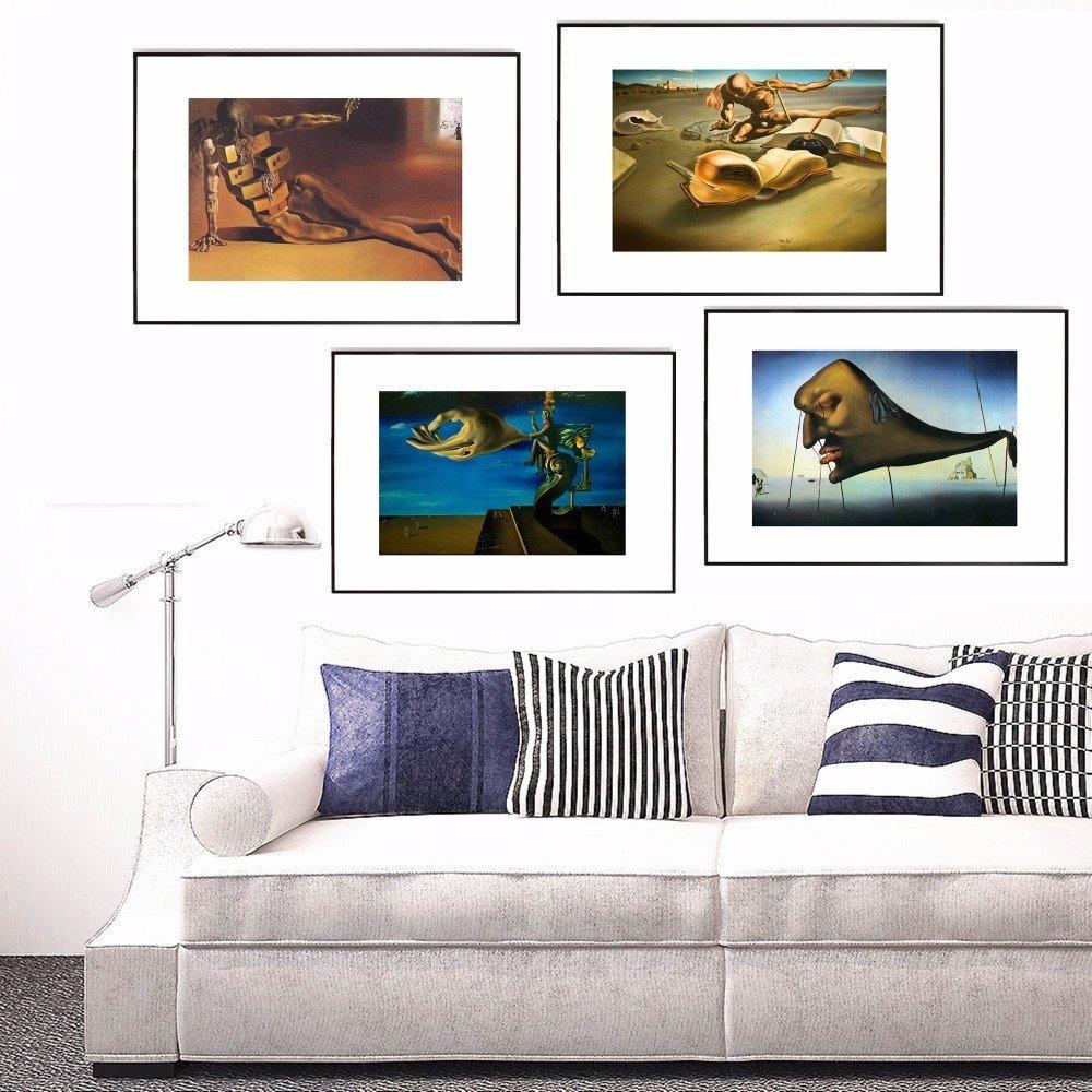 Living Room Wall Decor Pictures Salvador Dali Virtual Dream Canvas Art Print Painting