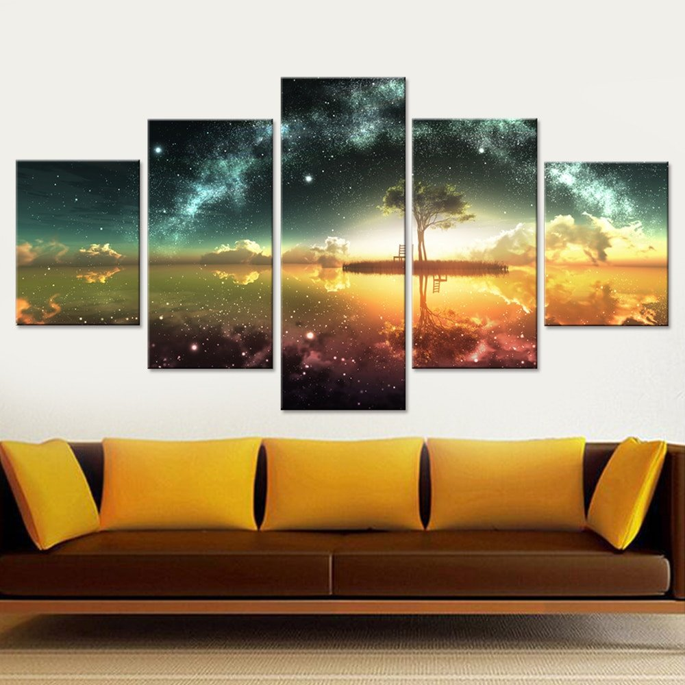 Living Room Wall Decor Pictures Space Ocean Canvas Set Wall Art Canvas Paintings Wall