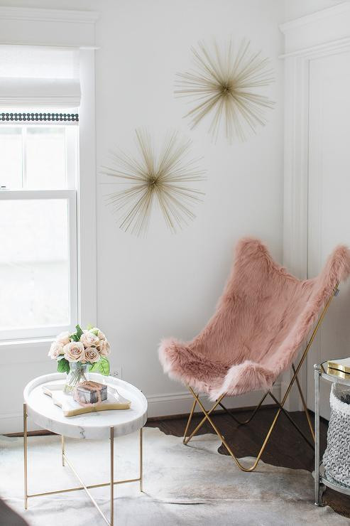 Lounge Chair for Teen Bedroom Dusty Rose Faux Fur butterfly Chair with Oval Marble Coffee