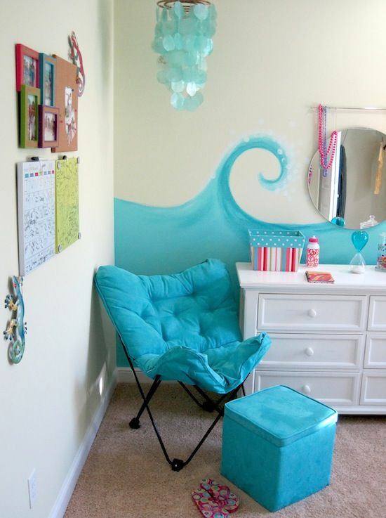 Lounge Chair for Teen Bedroom Model Home tour Girl S Beach theme Bedroom