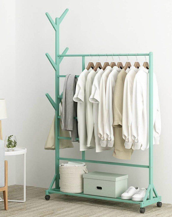 Luggage Rack for Bedroom Wyqsz Vertical Bamboo Garment Rack Floor Home Clothes Rack
