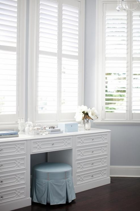 Make Up Vanity for Bedroom Bay Window with White Trellis Makeup Vanity Transitional