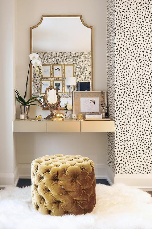 Make Up Vanity for Bedroom Gold Floating Makeup Vanity Transitional Bedroom