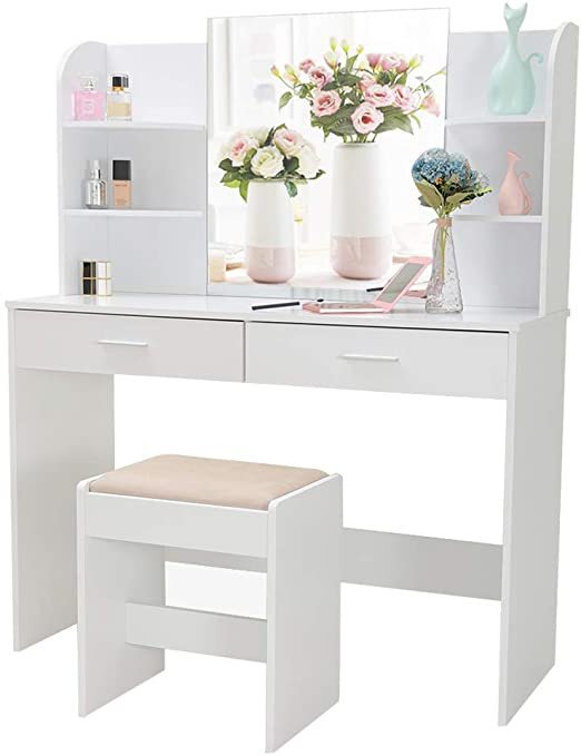 Make Up Vanity for Bedroom Vanity Set with Mirror & Cushioned Stool Makeup Table Vanity Dressing Table 2 Drawer 6 Storage Shelves for Bedroom Bathroom White