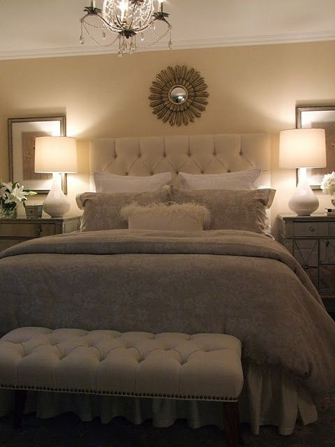Master Bedroom Makeover Ideas Master Bedroom Tufted Bench and Headboard