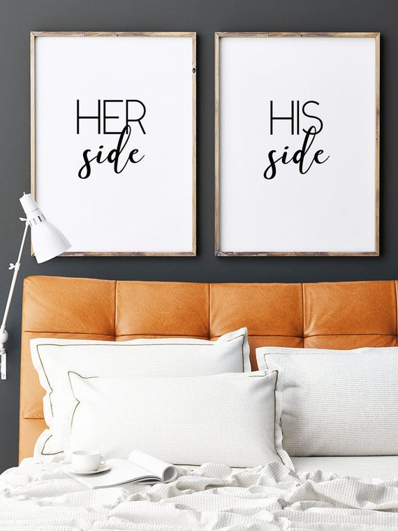 Master Bedroom Wall Art His Side Her Side Couple Wall Art Master Bedroom Art Gift for Her