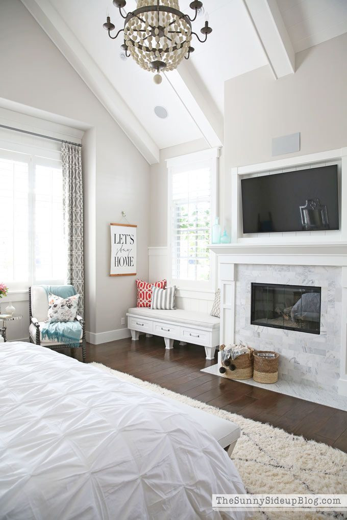 Master Bedroom with Fireplace Decorated Master Bedroom