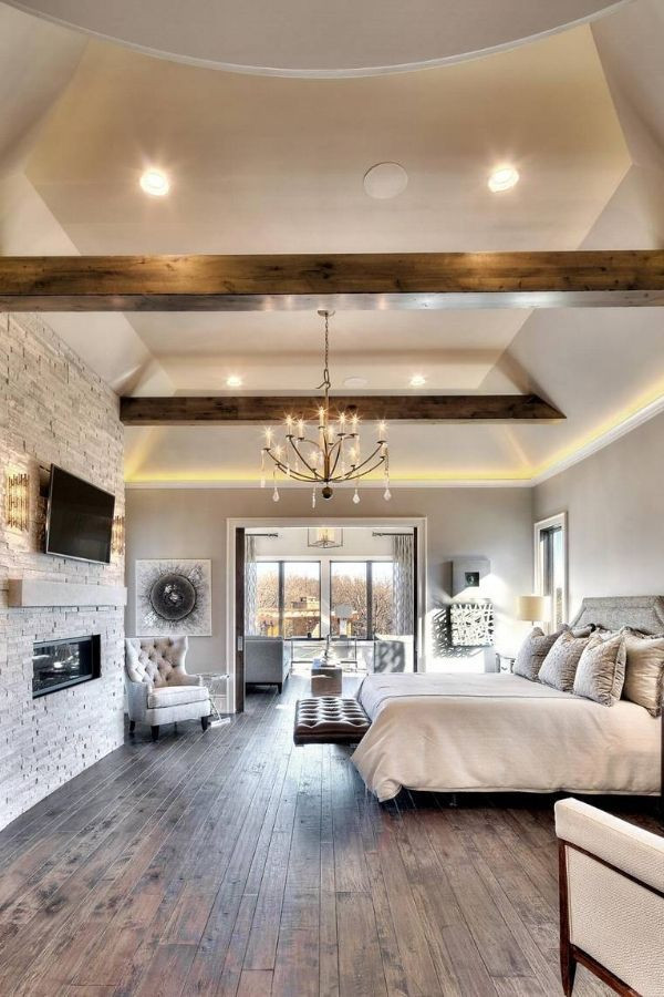 Master Bedroom with Fireplace Gorgeous Master Bedroom with Brick Fireplace