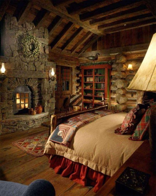 Master Bedroom with Fireplace Log Cabin Home Master Bedroom with Custom Stone Fireplace