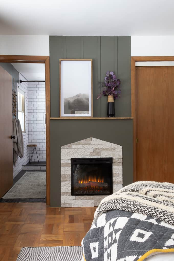Master Bedroom with Fireplace Master Bedroom Fireplace with Stone and Green Bright Green