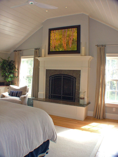 Master Bedroom with Fireplace Master Bedroom Raised Fireplace Mantel Traditional