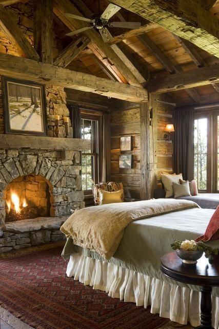Master Bedroom with Fireplace Rustic Master Bedroom with Fireplace Would Love A Room
