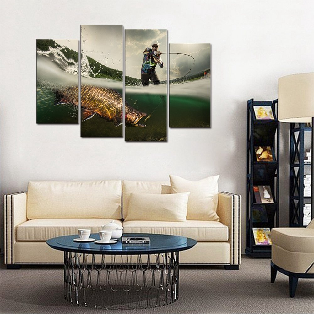 Mens Living Room Wall Decor Fishing Picture Big Fish Poster Wall Art for Living Room
