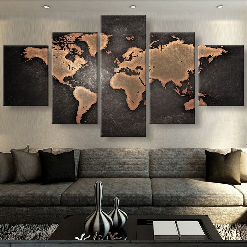 Mens Living Room Wall Decor Rustic World Map Canvas Set