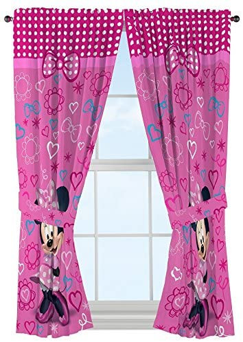 "Minnie Mouse Bedroom Ideas Disney Minnie Mouse Window Panels Curtains Drapes Pink Bow Tique 42"" X 63"" Each"