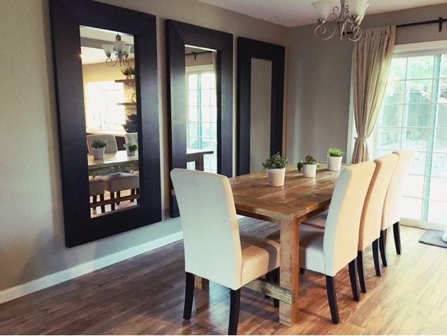 Mirrors Contemporary Living Room Vertical Mirrors Behind the Dining Room Table Makes the