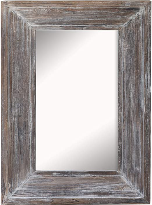 Mirrors for Bedroom Walls Barnyard Designs Decorative Distressed Wood Frame Wall Mirror Rustic Farmhouse Mirror Decor Vertical or Horizontal Hanging for Bathroom