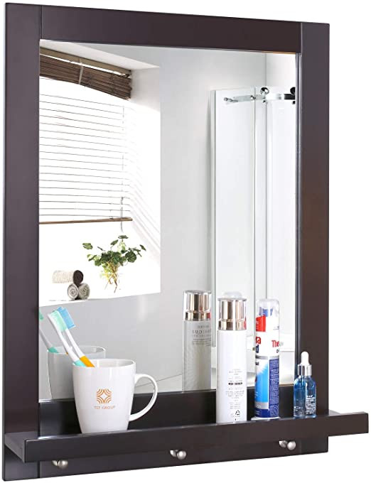 Mirrors for Bedroom Walls Homfa Bathroom Wall Mirror Vanity Mirror Makeup Mirror Framed Mirror with Shelf and 3 Hanging Hooks Multipurpose for Home Dark Brown