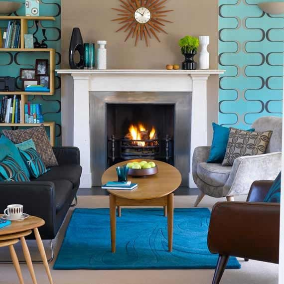 Modern Blue Living Room Decorating Ideas Mid Century Modern Shades Of Blue Living Room Decoration