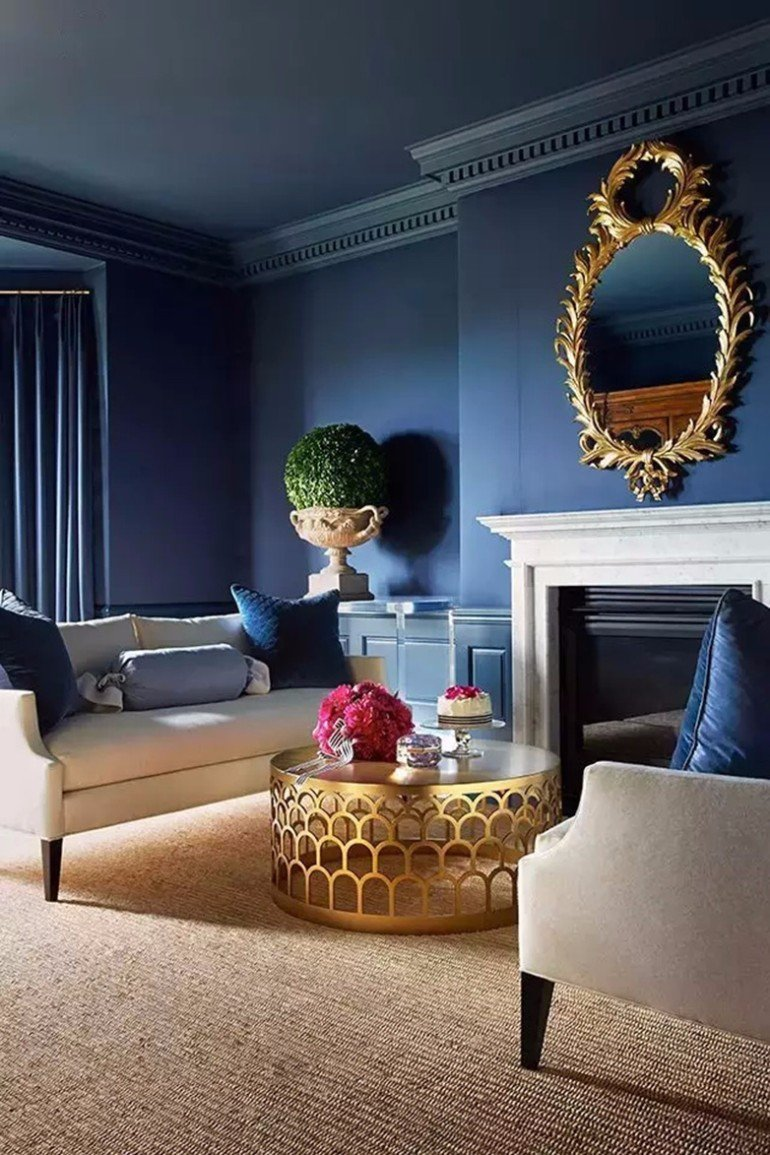 Modern Blue Living Room Decorating Ideas Modern Living Room with Navy Blue Walls – Living Room Ideas